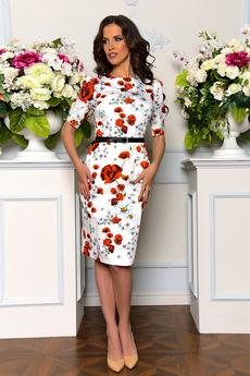 Новинка: белое платье с маками Angela Ricci
